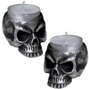 Pair Alchemy Gothic Skull Tea Light Candle Holder